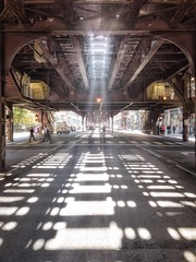 "Under the ""El"", Chicago IL (mckenziemedia) Tags: iphone7plus iphoneography iphone urban pedestrians cars rates light shadows street wabashavenue tracks train elevatedtrain illinois chicago"