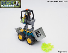 02_Dump_truck_with_drill (LegoMathijs) Tags: lego moc legomathijs rock raiders dump truck with drill radar energy crystal mining miner space scifi wheels off road planet u rised cabin turqoise stone