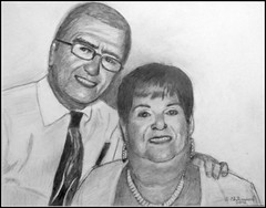 Bob & Audrey - Black & White Pencil Drawing by STEVEN CHATEAUNEUF (2016) - This Photo Of This Drawing Was Also Taken by STEVEN CHATEAUNEUF (snc145) Tags: portraits couple faces smiles expression art artist artists pencil stevenchateauneuf 2016 pencildrawing flickrunitedaward thisphotorocks
