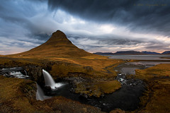 The conclusion - Chasing the light to Kirkjufell. (Pete 5D......) Tags: kirkjufell iceland 2 two waterfalls waterfall dramatic sky skies cloud clouds landmark famous iconic landscape anger angry moody storm west peninsula evening dusk sunset pink kirkjufellsfoss mountain pointy