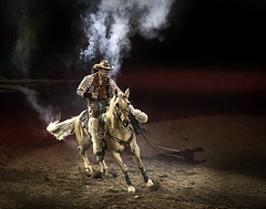 024693625-83-2016 NFR 6 Gun Cowboy-1 (Jim There's things half in shadow and in light) Tags: 2016 canon5dmarkiv canon70200lens nfr nationalfinals nevada rodeo southwest thomasandmack unlv action cowboy december sports pistol old horsebackriding animal horse