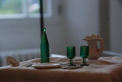 Tiny Table (whitesepulchre) Tags: life detail green glass museum table glasses bottle still nikon empty leer plate tiny grün delicate setting pitcher tisch fragile flasche glas teller minature saarland refreshment villeroy boch winzig breakable d80