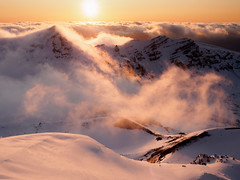 A New Day (blue polaris) Tags: park new winter red cloud snow ice fog sunrise landscape volcano crossing lakes zealand alpine national crater tongariro emerald