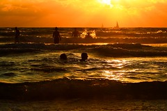 my daughters bathing in the sea at sunset (Lior. L) Tags: sunset sea reflection beach silhouettes bathing