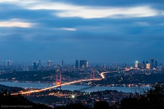 Istanbul (Ziad Hunesh) Tags: city longexposure bridge sea sky night clouds canon 50mm lights cityscape hill istanbul bosphorus çamlıca 650d zhunesh