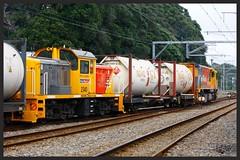 A shunting loco in the consist... (SemmyTrailer) Tags: trains nz railways dsc paekakariki dft gmdd