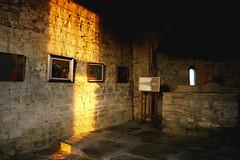 Interno della cappella di S. Sebastiano (BerrutiGiulia) Tags: italy art church lights italia arte chiesa pietre luci cuneo cappella langhe quadri bergolo
