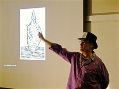 Pataphysics and Alfred Jarry: An art lecture at the Mill Valley Library (fabola) Tags: art studio library marin exhibit discussion lecture slotmachine millvalley alfredjarry pataphysics pataphysical bestof2015