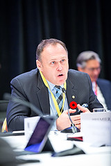 Yukon Premier Darrell Pasloski speaks during the Jobs and Investment in North America panel / Premier ministre du Yukon, Darrell Pasloski, parle à la séance de l'Emplois et investissements en Amérique du Nord