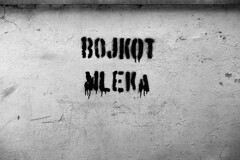 Bojkot!!! (Misko78) Tags: blackandwhite bw 35mm graffiti milk minolta 25asa efke minoltaxd7 mleko zoomrokkor50135 aflatoksin