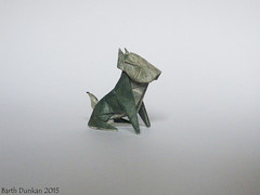 Seated Small Dog - Barth Dunkan (Magic Fingaz) Tags: dog chien origami perro hund 犬 狗 개 origamidog barthdunkan
