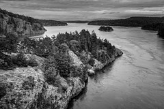 Pass Island from Deception Pass Bridge (Cornet, Washington) (Ken Lane Photography) Tags: sea blackandwhite bw usa mountain seascape tourism nature water monochrome clouds america vintage landscape geotagged outdoors island bay coast blackwhite washington nationalpark rocks unitedstates hill shoreline landmark cliffs coastal shore whidbeyisland pacificnorthwest northamerica pugetsound washingtonstate blacknwhite deceptionpass westcoast bnw strait washingtoncoast waterscape rockformation baw monochromeblackandwhite skagitcounty cornet washingtonisland evergreenstate cloudyday oakharbor travelphotography pacificcoastline historicallandmark nationalregisterofhistoricplaces hwy20 deceptionpassbridge rosariobeach deceptionpassstatepark fidalgoisland blackwhitephotos oakharborwashington pacificnorthwestcoast northwestus passisland nikond800 september2015 geo:lat=4840679192 geo:lon=12264428617 cornetwashington deceptionpassstrait macscover nikond800photography