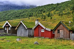 Norwegian Wood (manuelecant) Tags: norway geiranger farm house color europe nikon d5500 hdr wood hill mountain clouds rain green grass nature