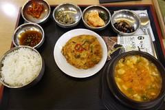 Korean spicy hotpot and pancake combo (pelican) Tags: dscrx100 incheonairport korea sundubujjigae jijimgae
