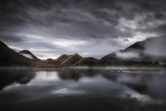 Follow the Leader (SharonWellings) Tags: red newzealand moke lake south southisland sunrise fog sans travel