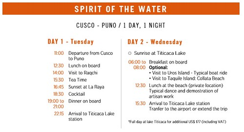 Belmond Andean Explorer Spirit of the Water Itinerary