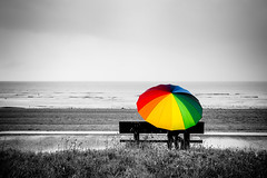 Un peu de couleurs dans ce noir & blanc... (Zeeyolq Photography) Tags: alone badweather beach colorful colors france multicolored mto normand normandie rain raining umbrella