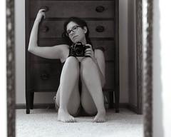 53/365 - Happy new camera day to me.  :) (kate.millerwilson) Tags: nikond750 camera selfportrait mirror woman monochrome