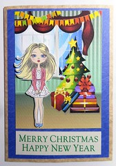 Christmas card 4_2016 (tengds) Tags: christmascard card handmadecard girl pink blond christmastree presents buntings curtain red blue green cream papercraft tengds