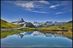 Grindelwald ,The Bachalpsee  A view to the Wetterhorn & the Finsteraarhorn & the Mighty Eiger. No. 9077. (Izakigur) Tags: eiger europa wetterhorn berneroberland d700 dieschweiz nikond700 nikkor2470f28 reflection alps alpes alpen alpene alpi grindelwald izakigur flickr feel fixyou coldplay myswitzerland musictomyeyes ilpiccoloprincipe thelittleprince thejungfrauregion hiking summer green blue ch cantonofbern kantonbern lac lake bachalpsee bachalp interlaken swiss svizzera switzerland suizo sussa suisia suiza helvetia