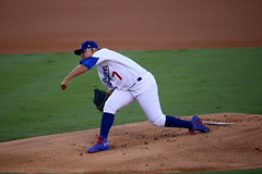 Dodgers rookie Julio Urias delivers a pitch in the first inning of NLCS Game 4. (apardavila) Tags: nlcs postseason baseball dodgerstadium juliourias losangelesdodgers majorleaguebaseball mlb sports