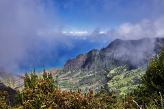 Pu'u O Kila Lookout (AgarwalArun) Tags: sonya7m2 sonyilce7m2 hawaii kauai island landscape scenic nature views mountain fog clouds napalicoast pacificocean ocean water waves surf napali ruggedcoastline cliffs pu'uokilalookout