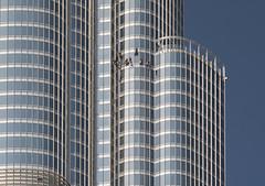 Washing windows (Robert Haandrikman) Tags: blue building window washing men burj khalifa dubai mall downtown high hight sun hot water