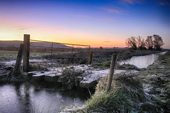 Iced rhyne (OutdoorMonkey) Tags: somerset levelsandmoors slm somersetlevels kingssedgemoor field gate bridge ice morning frost frosty icy dawn predawn countryside outside outdoor rural