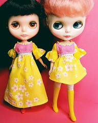 Anouk and Rosie sporting new Flocked Frocks dresses, now available in my Etsy shop 💟