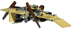 Dragonfly Super-Light Diesel Scout Aircraft Mk. XXX (rear) (aillery) Tags: lego dieselpunk military diesel scout fighter air plane craft aircraft airplane light reconnaissance recon adventurers desert two stroke single piston