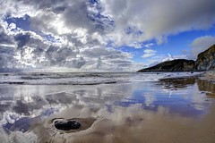 Which way to happy (pauldunn52) Tags: temple bay witches point glamorgan heritage coast wales wet sand reflections sky canon dos d europe