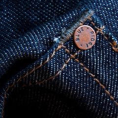 Blue ridge (jopperbok) Tags: jopperbok macro macromonday macromondays stitch stitches jeans blue ridge button stripes dots repetition white square texture tuesday fabric cotton