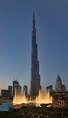 Dubai Fountain & Burj Khalifa, Downtown Dubai (ajnabeee) Tags: dubai fountain uae burj khalifa downtown dusk sunset