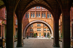 Archways and courtyards (aistora) Tags: architecture victorian gothic neogothic gothicrevival london pru prudential insurance law legal bar bars holborn architect waterhouse red brick arch archway colonnade courtyard court columns windows glass gate entrance facade walls people sony ilce alpha a6000 zeiss sel24f18za lightroom explore explored14nov16