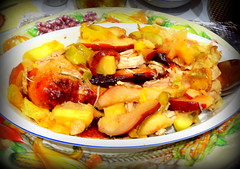 Thanksgiving Dinner. Cut Turkey with Baked Fruits (dimaruss34) Tags: newyork brooklyn dmitriyfomenko image thanksgiving deliciousfood homemadefood plate