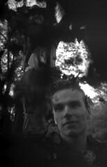 Leaf Drop I (Sean Anderson Media) Tags: portrait fallingleaves blackandwhite filmphotography smena8m illfordhp5plus400 autumnleaves fall russiancamera film 35mm monochrome grain filmgrain