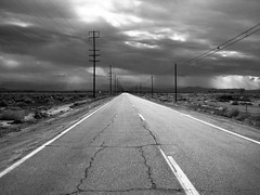 Desert Highway (The School of Light) Tags: theschooloflight blackwhite believeinfilm blackandwhite monochrome darkroomclasses laphotographyschool roadtrip highdesert california analogphotography classiccameras nikonf3 storm clouds infinity boron