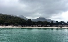 Wineglass Bay. Looking moody in between the showers.