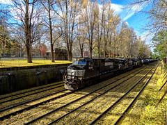 Locomotive (Paul McCarthy...) Tags: teamsony sonyhx300 norfolksouthern pittsburgh alleghenycommons fallleaves blackyellow black yellowleaves locomotive