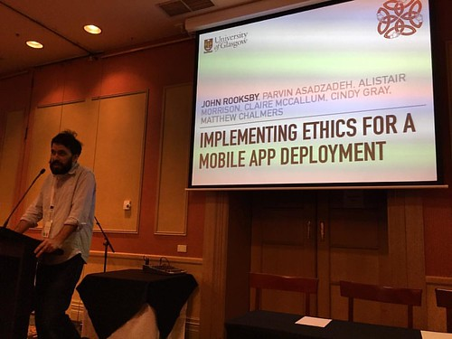 @johnrooksby talking through the jet lag about ethics in mobile app deployment #ozchi2016