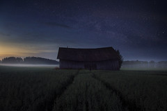 In the middle of. (Night photographs from Finland) Tags: finland nights stars misty fog field mood mystical photography blue colorful barn sunset mika suutari canon 5d