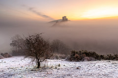 Frosty Corfe Castle Sunrise (Jonny_Royale) Tags: castle frosty dorset tree mist fog sunrise clouds colour jurassic coast south path national trust ruins wareham corfe atmospheric leegradfilters canonflickraward island epic wow