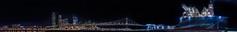 pier 32 panorama lll (pbo31) Tags: sanfrancisco california night december 2016 dark fall boury pbo31 city nikon d810 southbeach embarcadero pier 30 32 ship vessal port johnglenn usns service black bay sail color panoramic large stitched panorama baybridge 80 bridge skyline