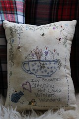hand stitched, thrifted (cherieisi) Tags: warm winter thoughts pillows handmade primitive stitching applique snowmen