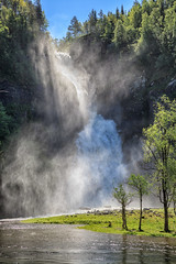 110909_AB_6039 (aud.watson) Tags: europe norway sognogfjordane hulderfossen farm school river watercourse waterfall route e39