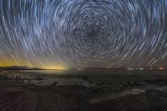 Star Trails Over the Salton Sea. (slworking2) Tags: saltoncity california unitedstates us saltonsea beach desert lake water stars startrails starstax night nightsky