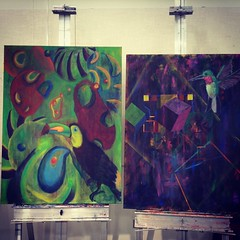 Toucan & Hummingbird: done in acrylics (Dat Asian) Tags: hummingbird toucan details design sketch birds acrylics paint