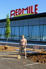 SAM FOY WITH BROOM (RED MILE), AUGUST 25, 2015 (louisbickett2) Tags: boy red man hot art shirt model marine lexington ky off mile conceptualart redmile samfoy