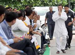 Rahul Gandhi (R) arrives at Rajiv Gandhi Foundation for handing over specially designed motorized vehicles to physically challenged young people  राहुल ने विशेष किस्म के वाहन दिए युवा विकलांगों को (legend_news) Tags: people india for over young foundation vehicles r gandhi arrives motorized newdelhi rahul handing rajiv designed challenged specially physically