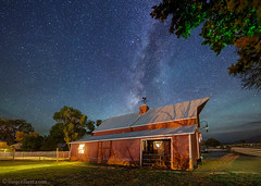 "Country barn under starry night sky (IronRodArt - Royce Bair (""Star Shooter"")) Tags: red barn rural america stars utah farm goats lightpollution starrynight milkyway rushvalley starrynightsky"